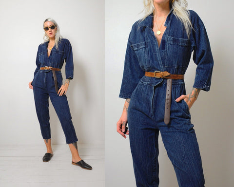 Dark Denim Flight Cropped Jumpsuit