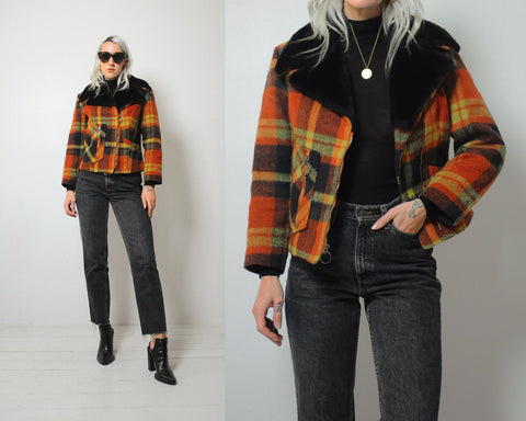 70's Plaid Wool Moto Jacket