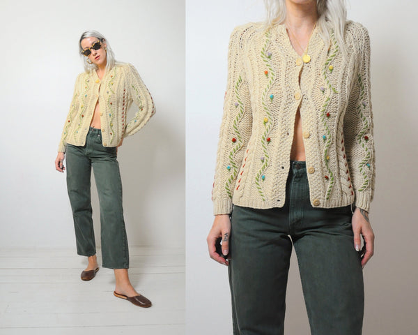 60's Italian Pom Floral Sweater