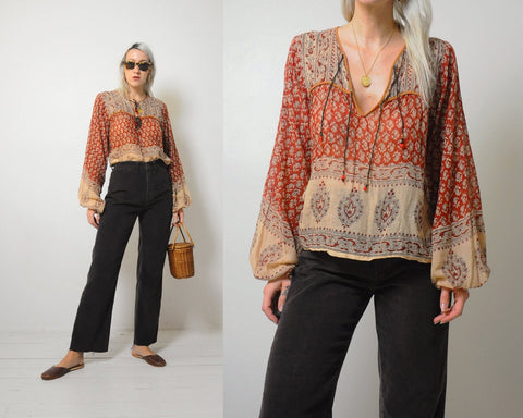 70's India Cotton Blouse