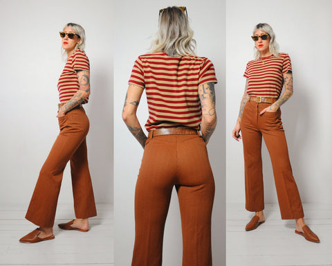 70's Tiny Check Flared Pants 27x28.5