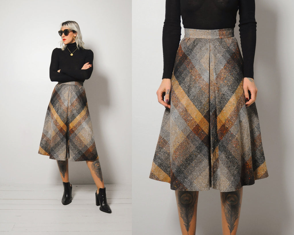 Megan Plaid Wool Skirt