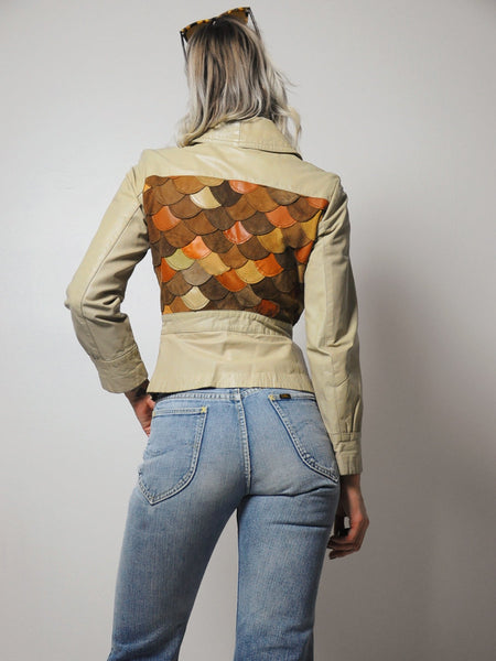 70's Scalloped Leather jacket