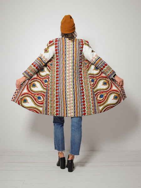 70's Quilted Paisley Duster