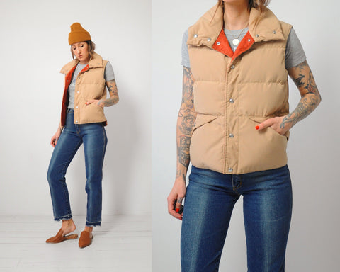Tan Quilted Down Vest