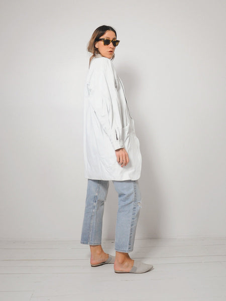 White Leather Cocoon Coat