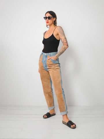 Suede Patched Jeans 28x29.5