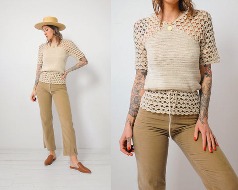 70's Wheat Crochet Blouse
