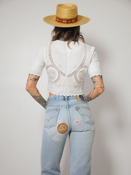 70's Crochet Cropped Blouse