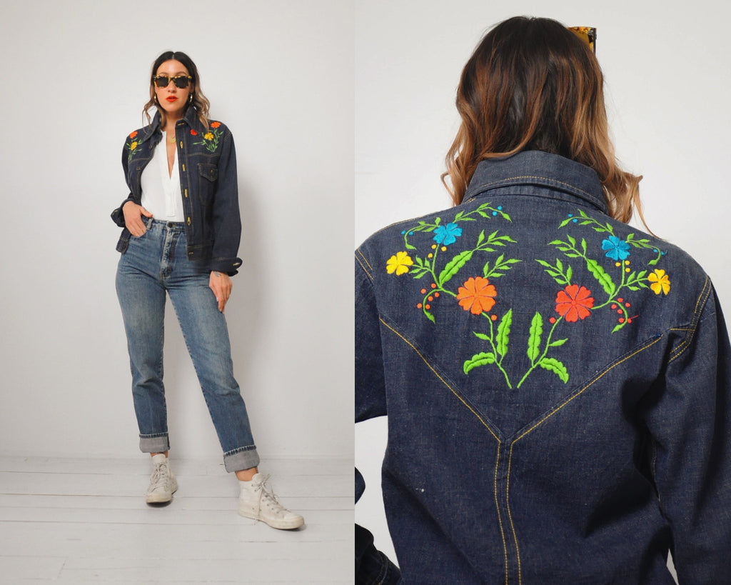 70's Embroidered Jean Jacket