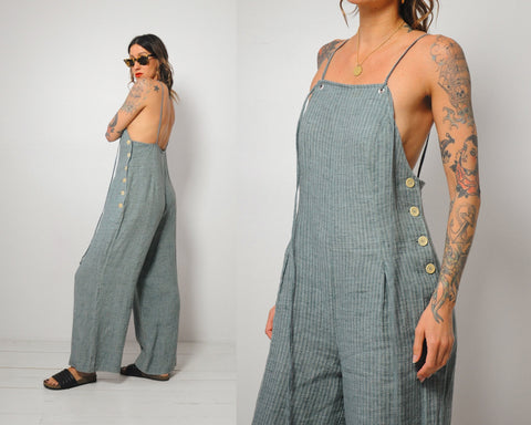 Open Back Linen Jumpsuit