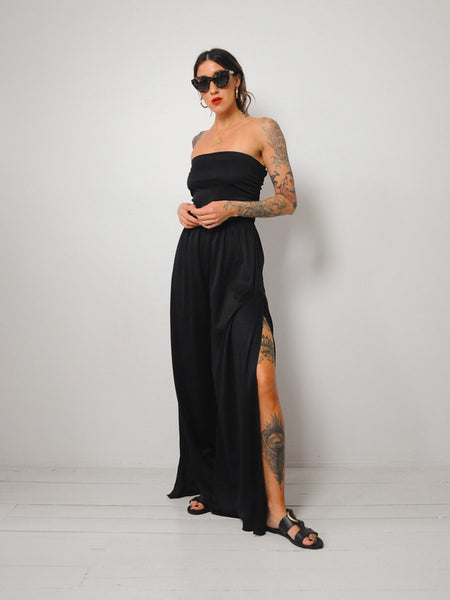 70's Strapless Palazzo Jumpsuit