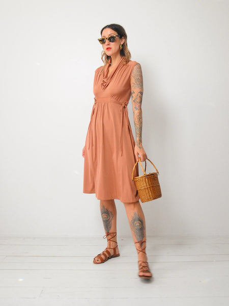 70's Terracotta Cowl Sundress