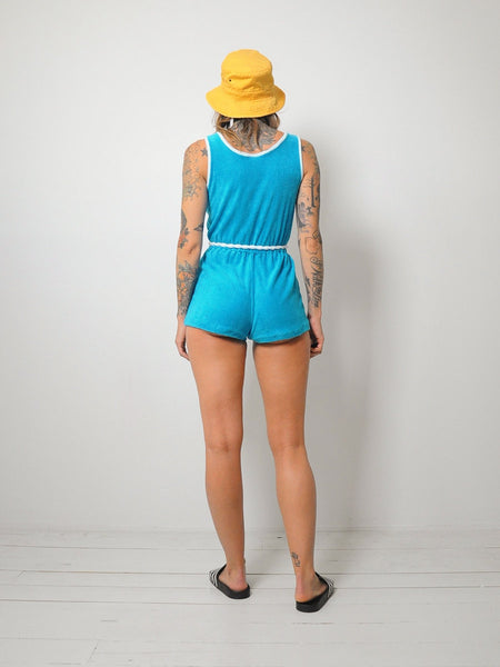 70's Teal Terry Cloth Romper