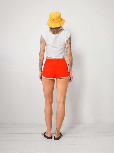 70's Red Terry Cloth Shorts