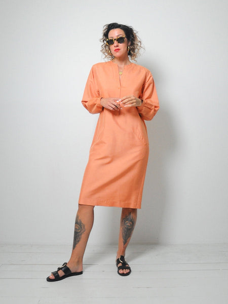 Halston Raw Silk Minimal Dress
