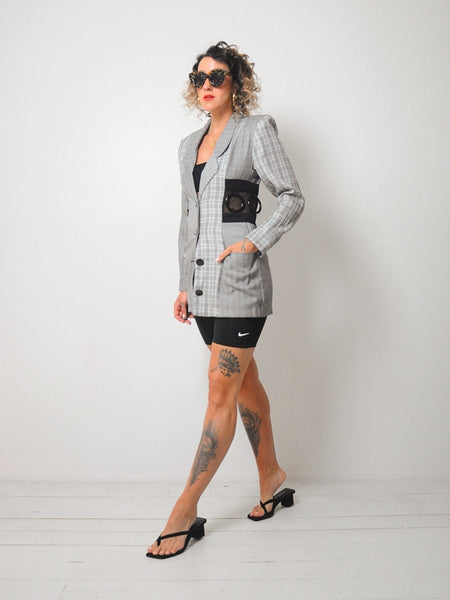 90's Patchwork Plaid Mesh Blazer