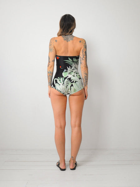 70's Botanical Print Swimsuit