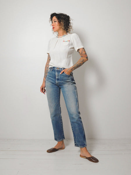 40's Embroidered Cropped Blouse