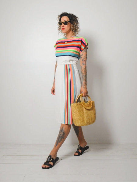 70's Rainbow Striped Sundress