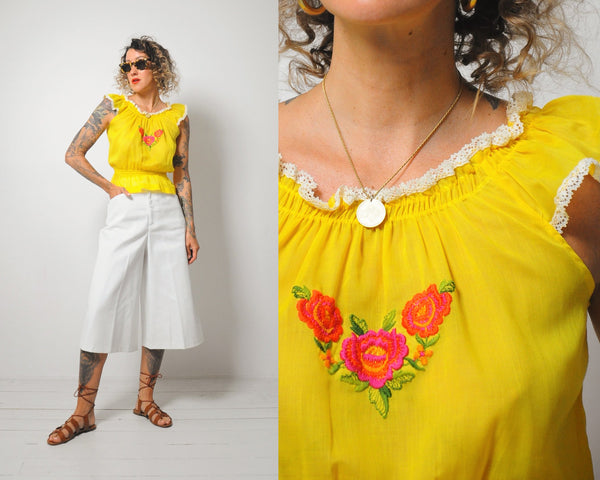 70's Golden Embroidered blouse