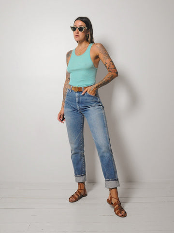 Thin Teal Ribbed Tank