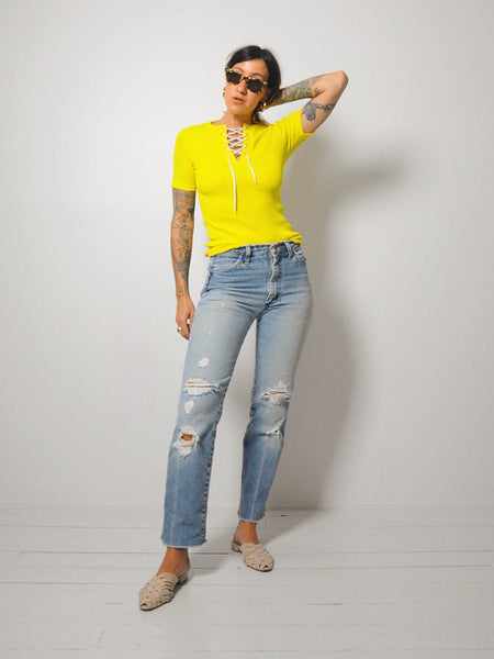 70's Lace Up Ribbed Top