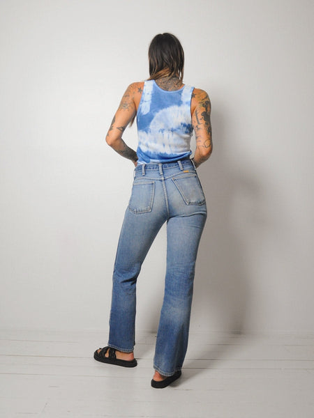 Blue Tie Dyed Ribbed Tank