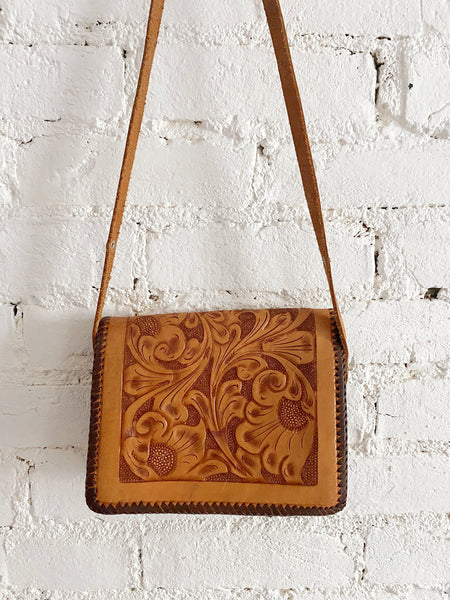 70's Dove Leather Hand Tooled Purse