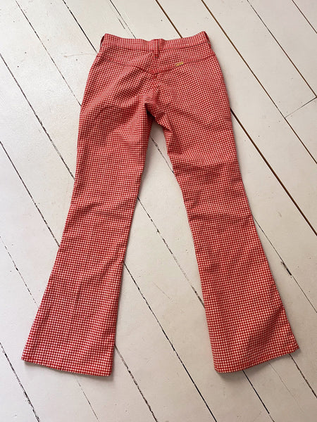 70's Red Gingham Jeans xs