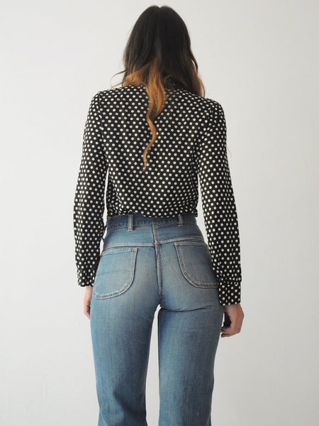 70's Navy Polka Dot Blouse