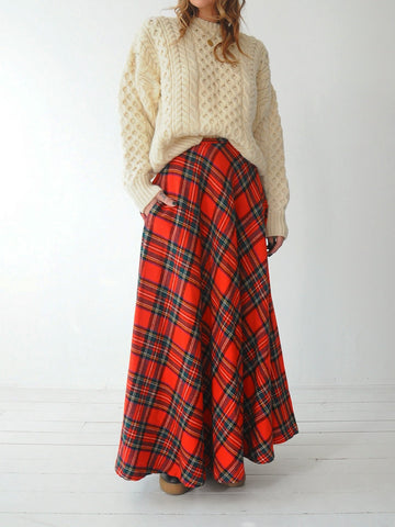 60's Wool Stewart Plaid Skirt