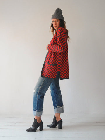 Red Checkerboard Cardigan