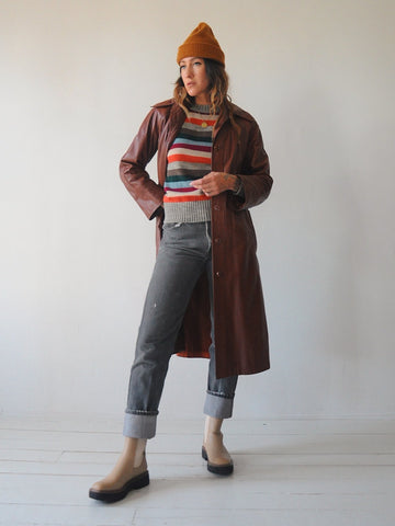 70's Brick Leather Trench