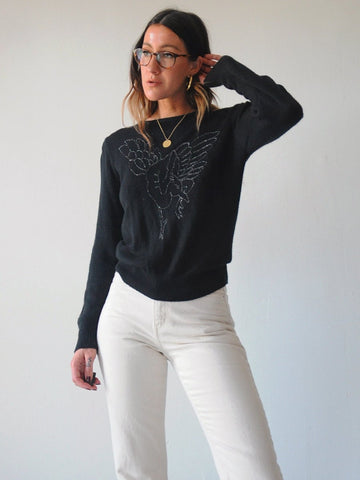 Metallic Crane Sweater