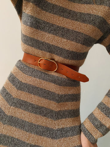 70's Cognac Leather Belt