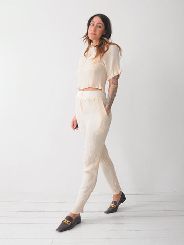 Bisque Textured 2 Piece Pant Set