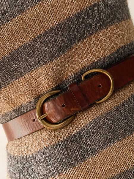 70's Double Buckle Leather Belt