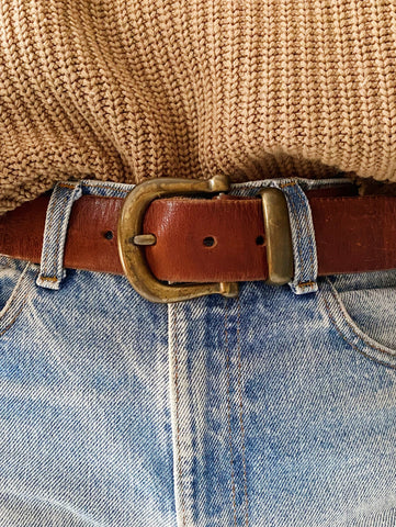 70's Brass Buckle Leather Belt