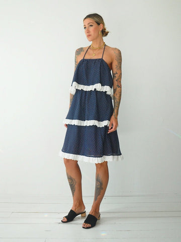 70's Polka dot Ruffle Sundress