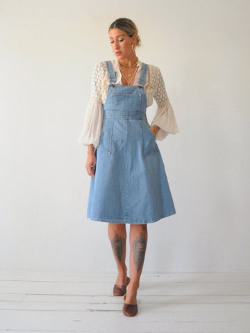 70's Denim Overall Dress