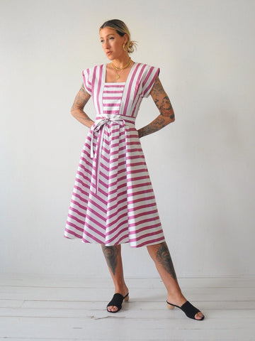 80's Plum Striped Sundress