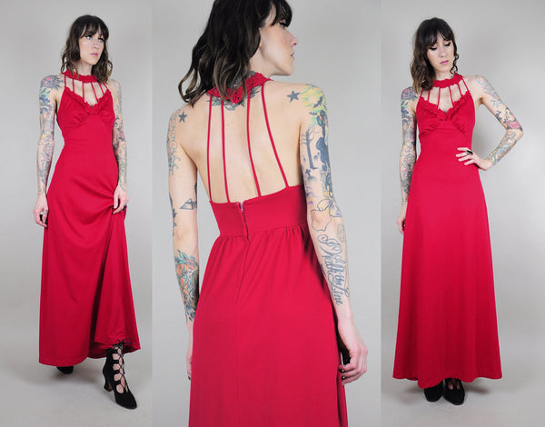 70's Cage Cut out Maxi Dress