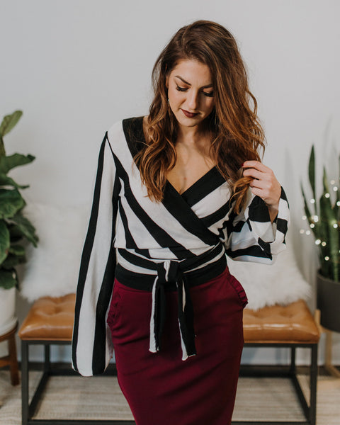 Enlightenment Stripe Tie Top