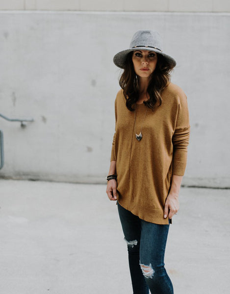 Carry On Tunic Sweater in Camel