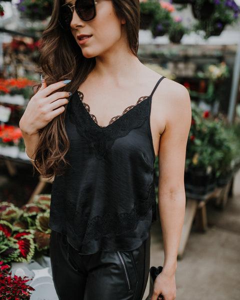Free People Your Eyes Cami in Black