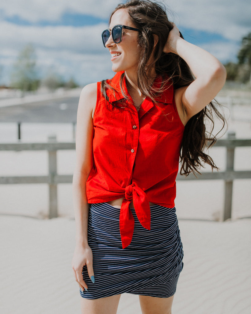 Ray Red Tie Top
