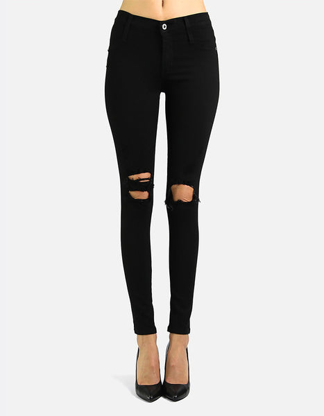 James Jeans Twiggy Dancer in Black Flex Distressed