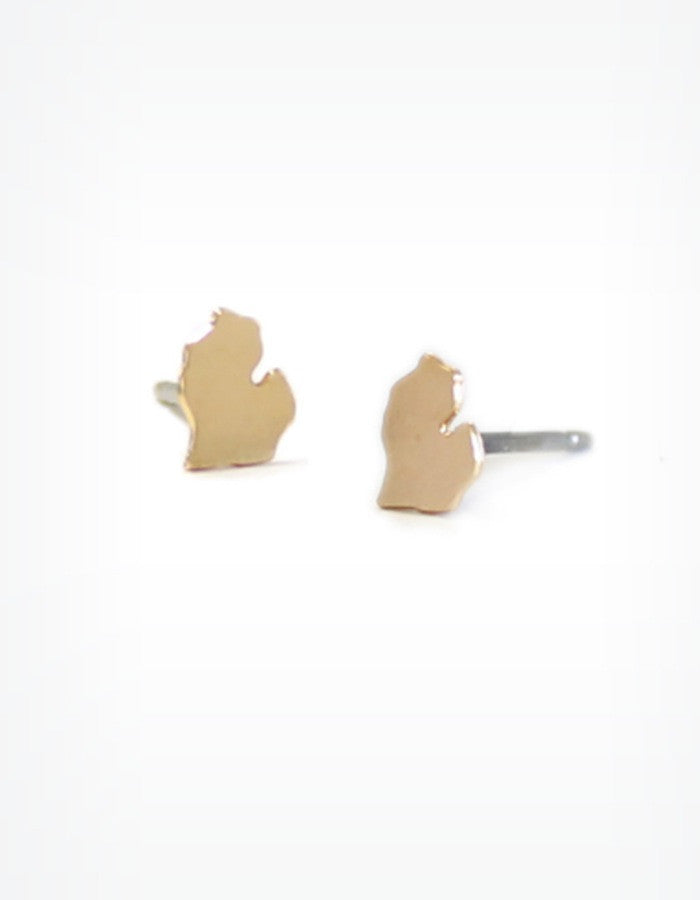 Michigan Stud Earrings (Gold or Silver) by Kris Nations
