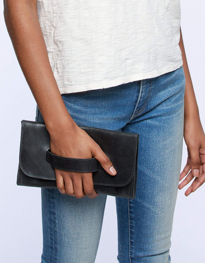 Able Mare Leather Clutch in Black